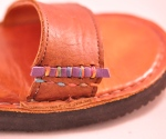 sandal stitched, braided cord, couching, leather sandal