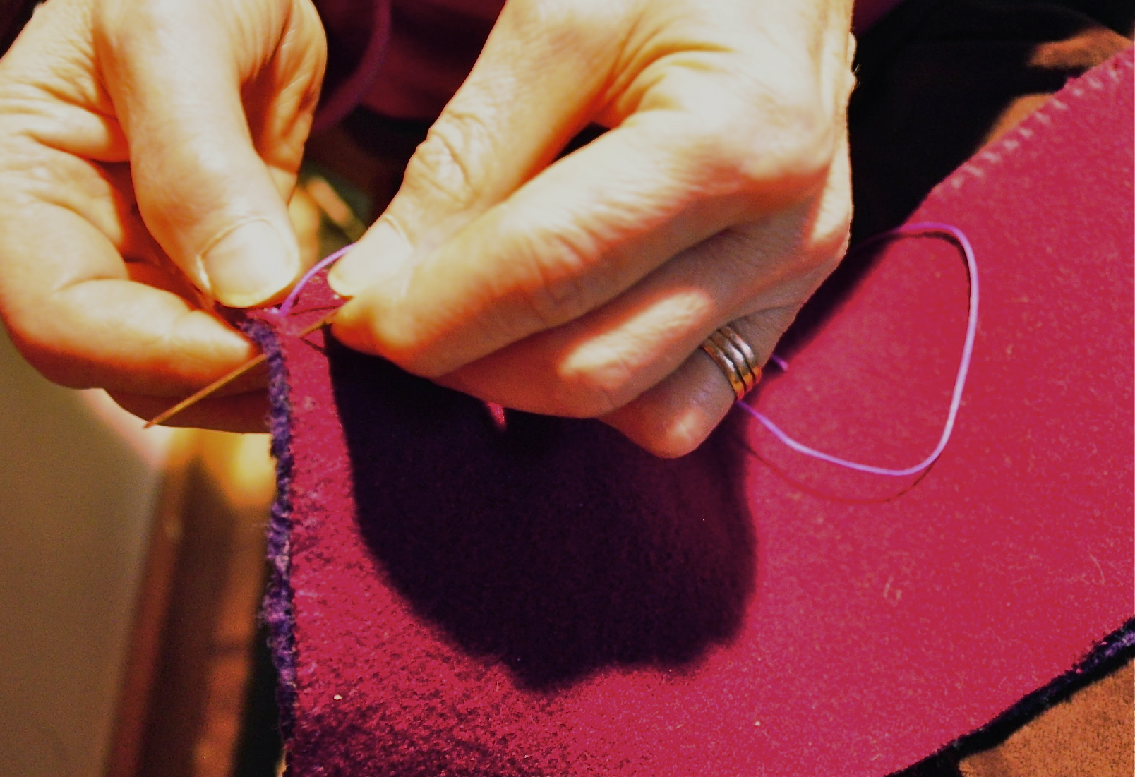 stitching the topline of the salish side seam boot