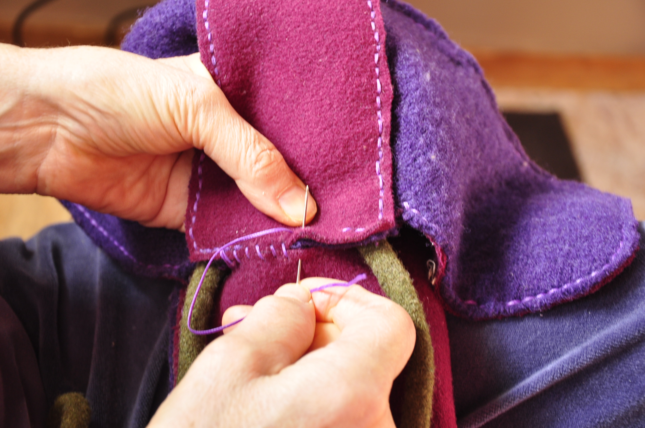 how to stitch tongue to body of salish side seam boot